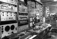 Banks of synthesizers at Unit Delta Plus studio 1966