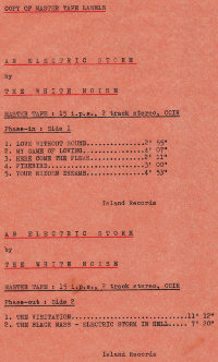 Copy of master tape labels for An Electric Storm cover by The Whilte Noise